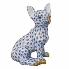 Herend Porcelain Fishnet Figurine of a Chihuahua